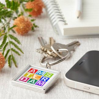 Amsterdam Silver-Colored Square Keychain