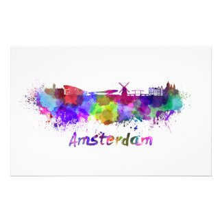 Amsterdam skyline in watercolor stationery