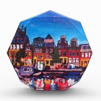 Amsterdam Skyline With Canal At Night Acrylic Award