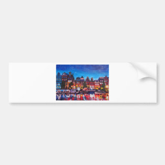 Amsterdam Skyline With Canal At Night Bumper Sticker