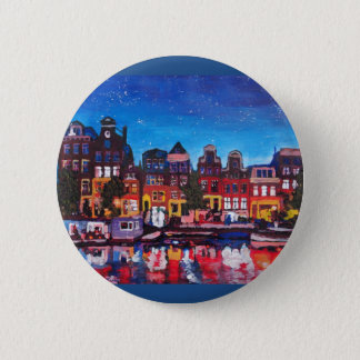 Amsterdam Skyline With Canal At Night Button
