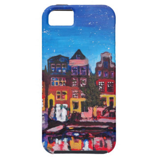 Amsterdam Skyline With Canal At Night iPhone 5 Covers