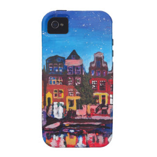Amsterdam Skyline With Canal At Night iPhone 4/4S Cases