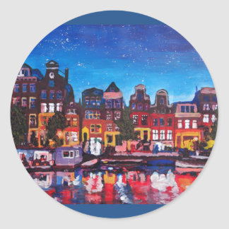 Amsterdam Skyline With Canal At Night Classic Round Sticker