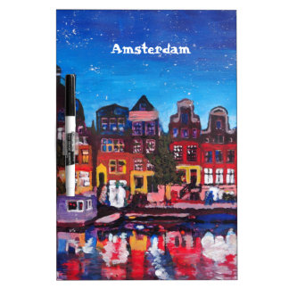 Amsterdam Skyline With Canal At Night Dry-Erase Whiteboards