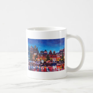 Amsterdam Skyline With Canal At Night Coffee Mugs
