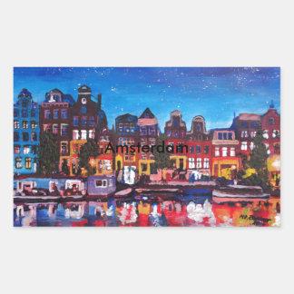 Amsterdam Skyline With Canal At Night Rectangular Sticker
