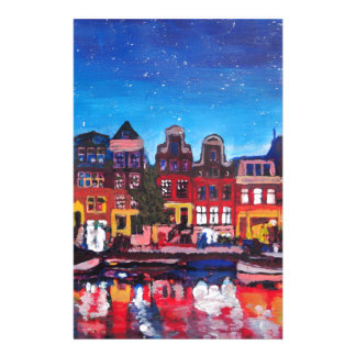 Amsterdam Skyline With Canal At Night Stationery