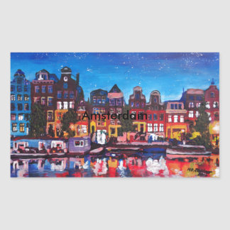 Amsterdam Skyline With Canal At Night Rectangle Stickers