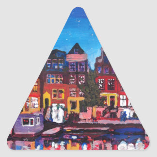 Amsterdam Skyline With Canal At Night Triangle Sticker
