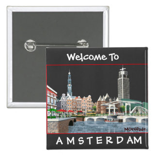 AMSTERDAM , THE NETHERLANDS 2 INCH SQUARE BUTTON