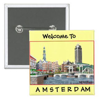 AMSTERDAM , THE NETHERLANDS  - Customized 2 Inch Square Button
