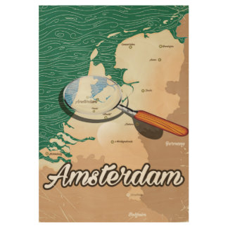 Amsterdam vintage map vacation poster wood poster