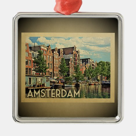 Amsterdam Vintage Travel Ornament Netherlands