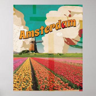 Amsterdam Vintage Travel Poster
