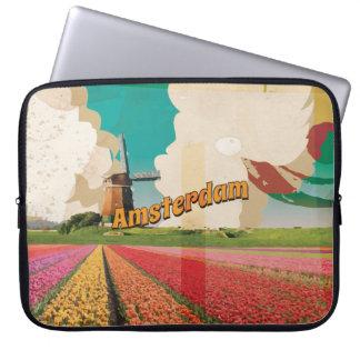 Amsterdam Vintage Travel Poster Laptop Computer Sleeve