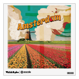 Amsterdam Vintage Travel Poster Room Graphics