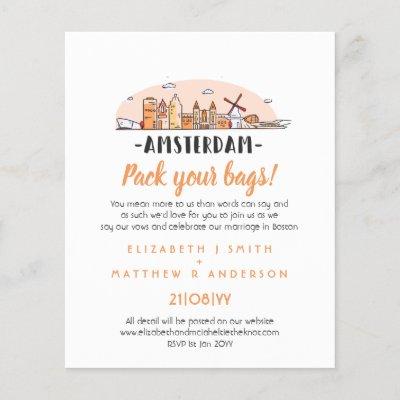 AMSTERDAM Wedding Handdrawn Skyline Modern Invite