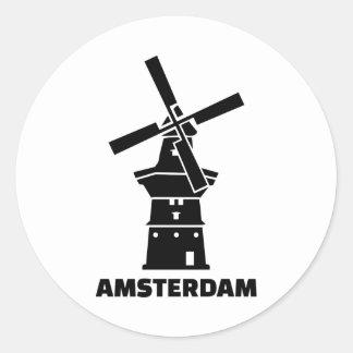 Amsterdam windmill classic round sticker