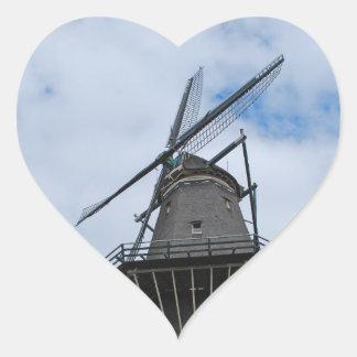 Amsterdam Windmill with Blue Sky Heart Sticker