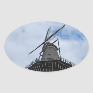 Amsterdam Windmill with Blue Sky Oval Sticker