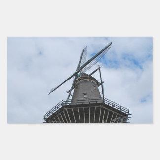 Amsterdam Windmill with Blue Sky Rectangular Sticker
