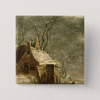 Amsterdam, winter scene, 17th century pinback button