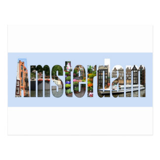 Amsterdam with tourist sights in letters postcard