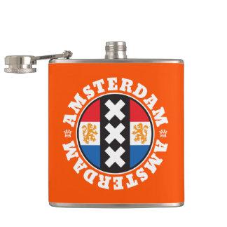 Amsterdam XXX City Symbol with Dutch Flag Hip Flasks