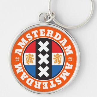 Amsterdam XXX City Symbol with Dutch Flag Silver-Colored Round Keychain