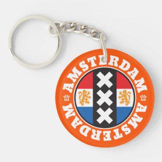 Amsterdam XXX City Symbol with Dutch Flag Double-Sided Round Acrylic Keychain