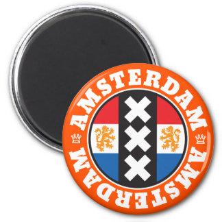 Amsterdam XXX City Symbol with Dutch Flag 2 Inch Round Magnet