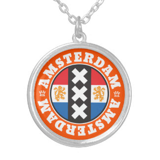 Amsterdam XXX City Symbol with Dutch Flag Round Pendant Necklace