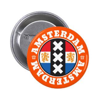 Amsterdam XXX City Symbol with Dutch Flag Pinback Button