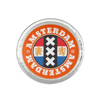 Amsterdam XXX City Symbol with Dutch Flag Rings