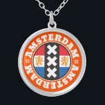 """Amsterdam XXX City Symbol with Dutch Flag Silver Plated Necklace<br><div class=""""desc"""">This Amsterdam design features the city&#39;s symbol of 3 white crosses on a black background, inset into a circle containing the red, white and blue of the Dutch flag. Standing on each side of the flag are a pair of orange rampant lions. The central design is encircled by the word...</div>"""