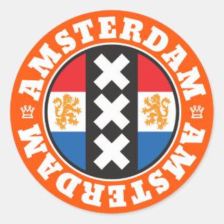 Amsterdam XXX City Symbol with Dutch Flag Classic Round Sticker