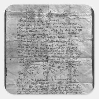 Amuleto cabalístico pegatina cuadrada