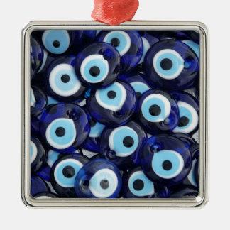 Amuletos de la protección de mal de ojo adorno cuadrado plateado