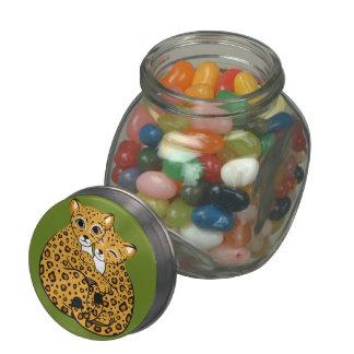 Amur Leopard Cubs Cuddling Art Glass Candy Jars