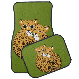 Amur Leopard Cubs Cuddling Art Car Mat