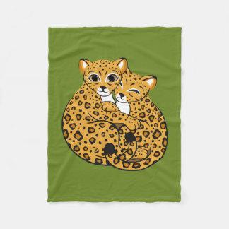 Amur Leopard Cubs Cuddling Art Fleece Blanket