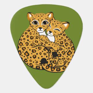 Amur Leopard Cubs Cuddling Art Guitar Pick