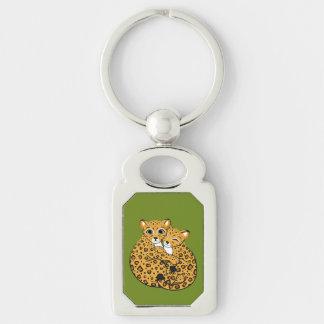 Amur Leopard Cubs Cuddling Art Keychain