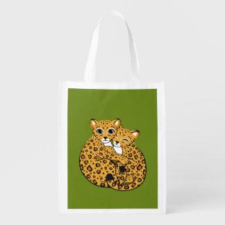 Amur Leopard Cubs Cuddling Art Market Tote