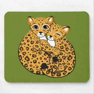 Amur Leopard Cubs Cuddling Art Mouse Pad