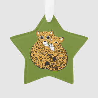 Amur Leopard Cubs Cuddling Art Ornament