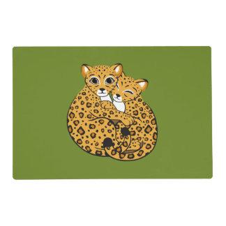 Amur Leopard Cubs Cuddling Art Placemat