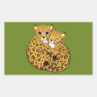 Amur Leopard Cubs Cuddling Art Rectangular Stickers