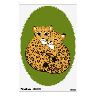 Amur Leopard Cubs Cuddling Art Wall Decal